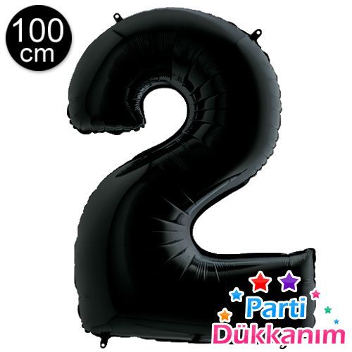 2 Rakam Folyo Balon Siyah (100x70 cm), fiyatı