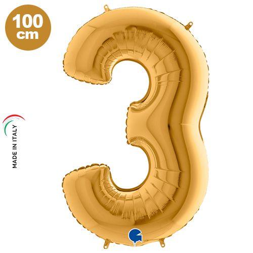 3 Yaş Rakam Folyo balon (Gold)