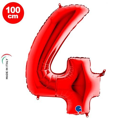 4 Rakam Folyo Balon Kırmızı (100x70 cm)