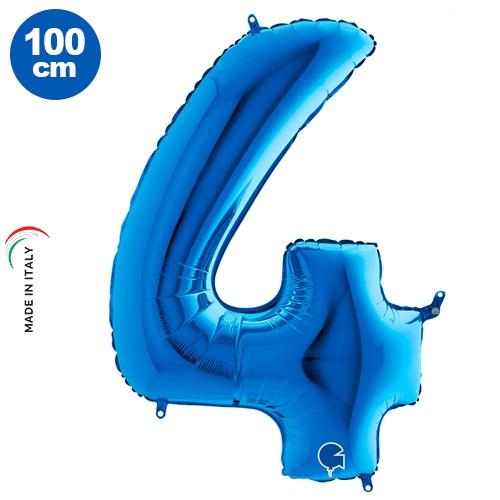 4 Rakam Folyo Balon Mavi (100x70 cm)
