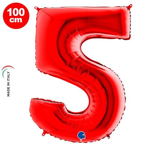 5 Rakam Folyo Balon Kırmızı (100x70 cm)