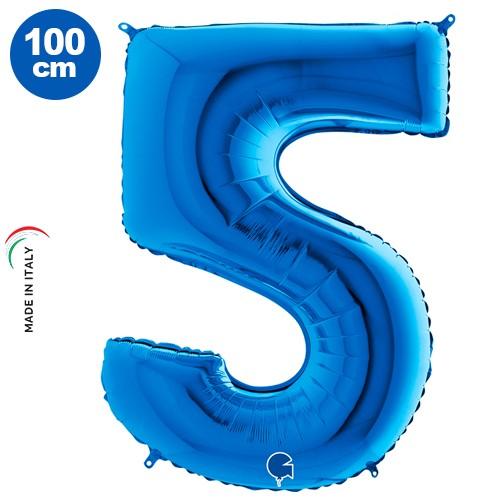 5 Rakam Folyo Balon Mavi (100x70 cm)