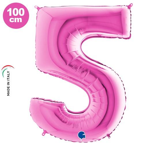 5 Rakam Folyo Balon Pembe (100 cm), fiyatı