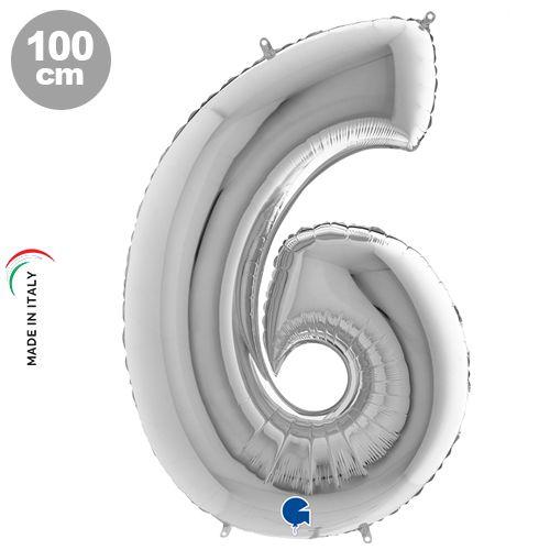 6 Rakam Gümüş Folyo Balon (100 cm)