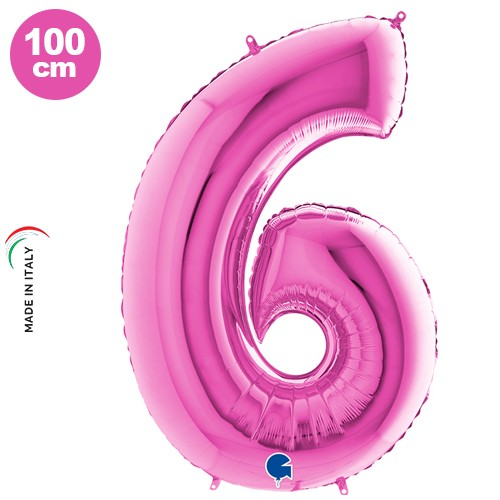 6 Rakam Folyo Balon Pembe (100x70 cm)