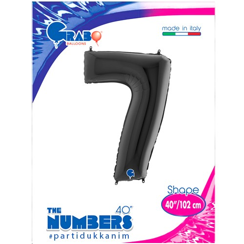 7 Rakam Folyo Balon Siyah (100x70 cm), fiyatı