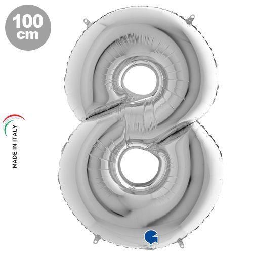 8 Rakam Gümüş Folyo Balon (100x70 cm)