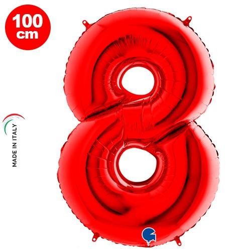 8 Rakam Folyo Balon Kırmızı (100x70 cm)