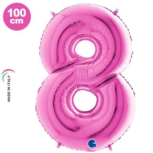 8 Rakam Folyo Balon Pembe (100 cm)
