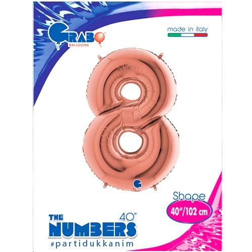 8 Rakam Folyo Balon Rose Gold (100x70 cm), fiyatı