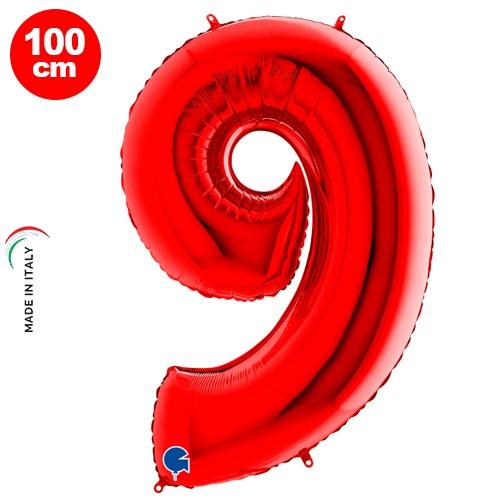 9 Rakam Folyo Balon Kırmızı (100x70 cm)