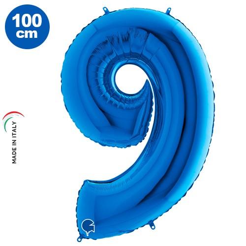 9 Rakam Folyo Balon Mavi (100x70 cm)