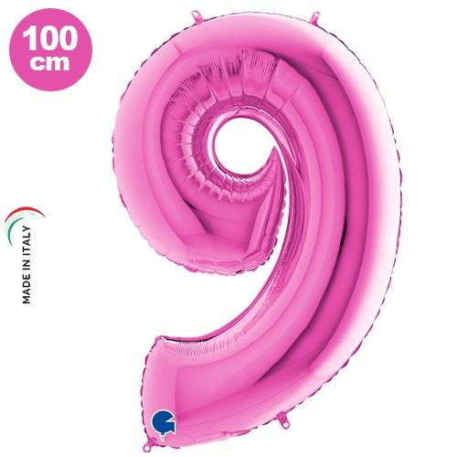 9 Rakam Folyo Balon Pembe (100x70 cm)