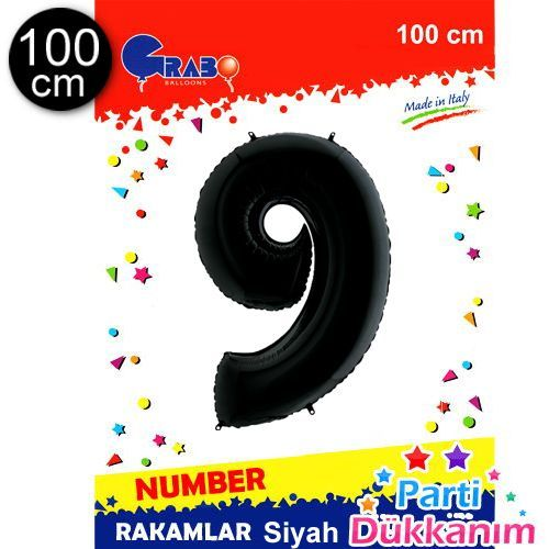 9 Rakam Folyo Balon Siyah (100x70 cm), fiyatı