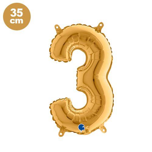 3 Rakam Folyo Balon Gold (35 cm)