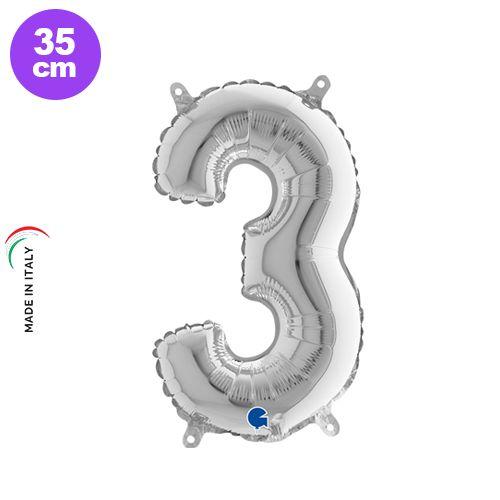 3 Rakam Folyo Balon Gümüş (35 cm), fiyatı