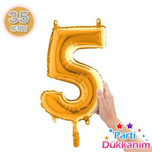 5 Rakam Folyo Balon Gold (35 cm), fiyatı