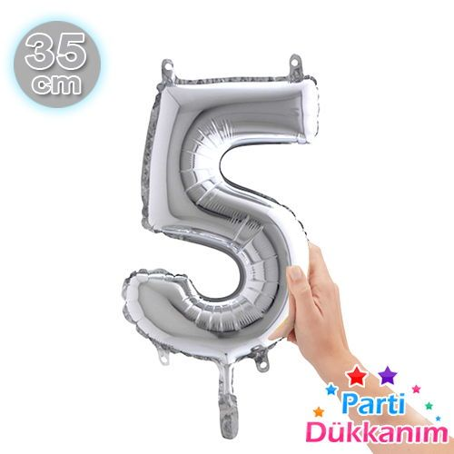 5 Rakam Folyo Balon Gümüş (35 cm)