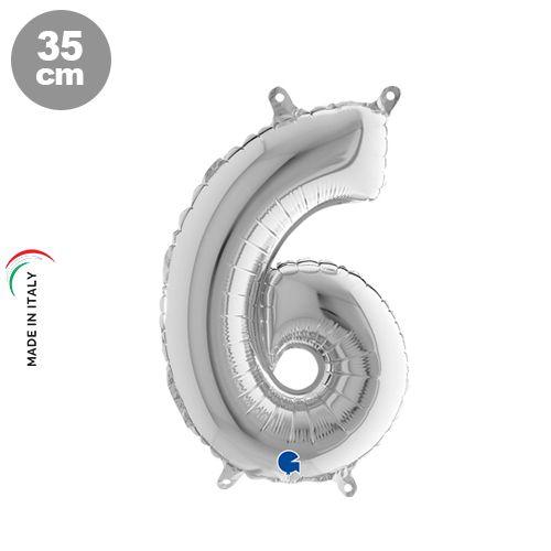 6 Rakam Folyo Balon Gümüş (35 cm)
