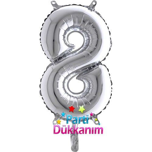 8 Rakam Folyo Balon Gümüş (35 cm)