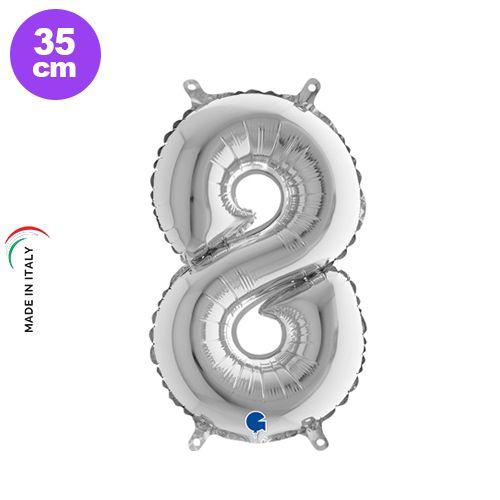 8 Rakam Folyo Balon Gümüş (35 cm), fiyatı