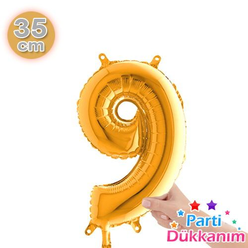 9 Rakam Folyo Balon Gold (35 cm)
