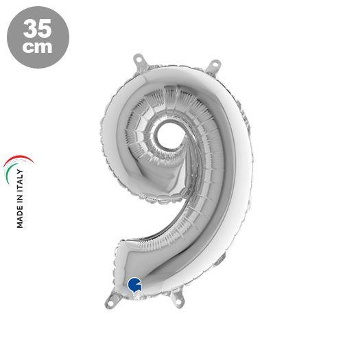 9 Rakam Folyo Balon Gümüş (35 cm)