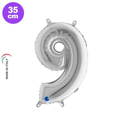 9 Rakam Folyo Balon Gümüş (35 cm), fiyatı
