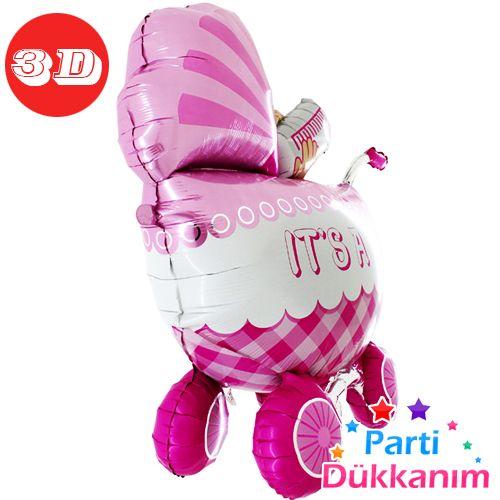 İt s A Baby Girl Buggy Folyo Balon Büyük 3D (107 cm), fiyatı