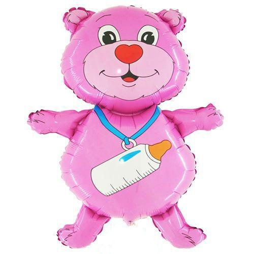 Sevimli Yavru Ayıcık Folyo Balon Pink (36'')