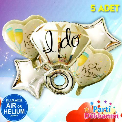 Tektaş Yüzük Folyo Balon 5'li Set, fiyatı