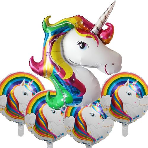 Unicorn Gökkuşağı Renkli Folyo Balon 5'li set