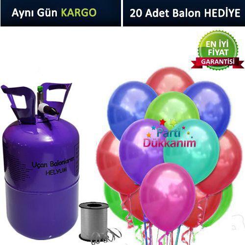 Helyum Tüpü 2.2 lt (20 Adet Sedefli Karışık Renk Balon)