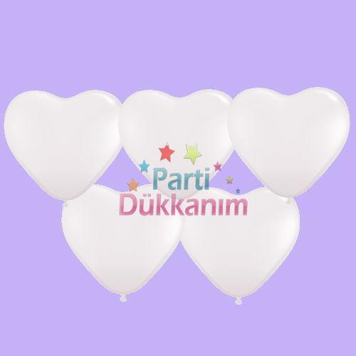 Beyaz Kalpli Balon 15 Adet