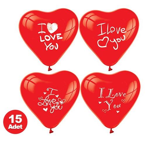 I Love You Baskılı Balon (15 adet), fiyatı