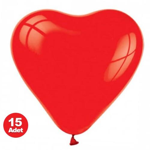 Kalp Balon Kırmızı 15 adet