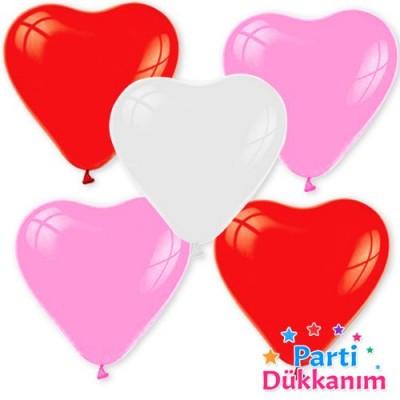 Karisik Renk Kalpli Balon 15 Adet