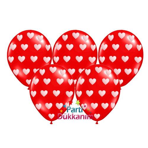 Kırmızı Balon Kalpli Baskılı (20 adet)