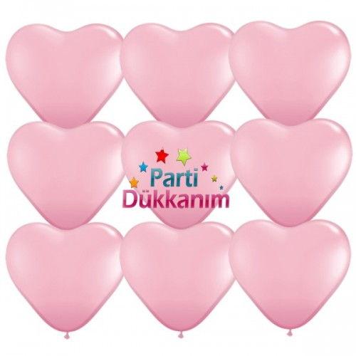 Pembe Kalpli Balon 100 Adet