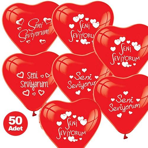Seni Seviyorum Balonu 50 Adet