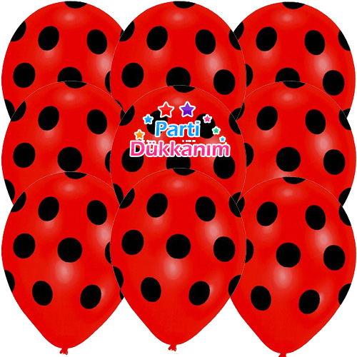 Siyah Puantiyeli Kırmızı Balon 100 Adet