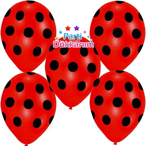 Siyah Puantiyeli Kırmızı Balon 20 Adet
