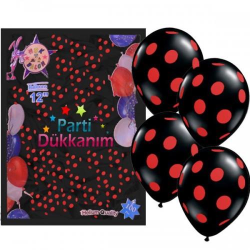 Kırmızı Puantiyeli Siyah Balon 100 Adet