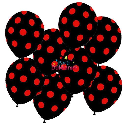 Kırmızı Puantiyeli Siyah Balon 20 Adet
