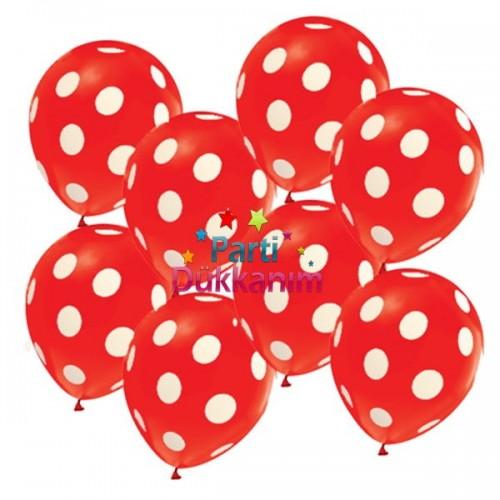Kırmızı Üzeri Beyaz Puantiyeli Balon (15 Adet), fiyatı