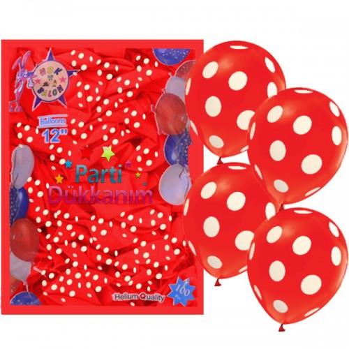 Kırmızı Üzeri Beyaz Puantiyeli Balon (100 Adet)