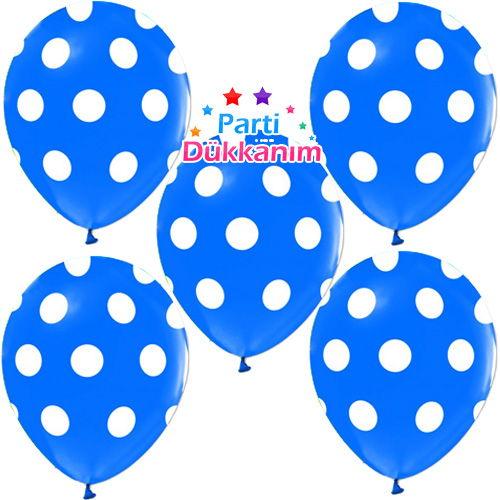 Mavi Üzeri Beyaz Puantiyeli Balon (15 Adet)