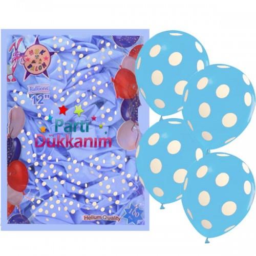 Mavi Üzeri Beyaz Puantiyeli Balon (100 Adet)