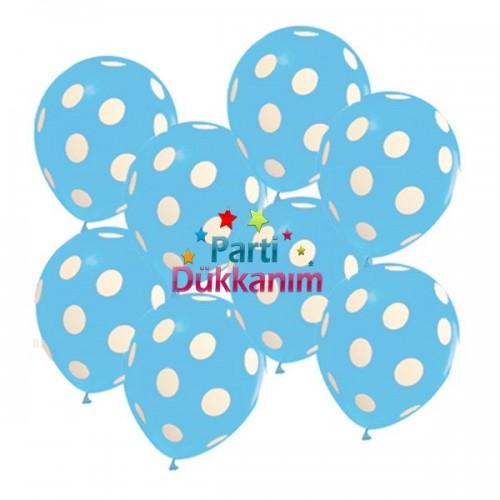 Mavi Üzeri Beyaz Pauntiyeli Balon (20 Adet)