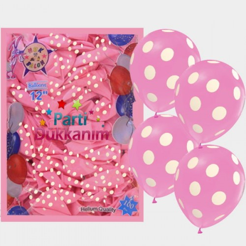 Pembe Balon Beyaz Puantiyeli (100 Adet)